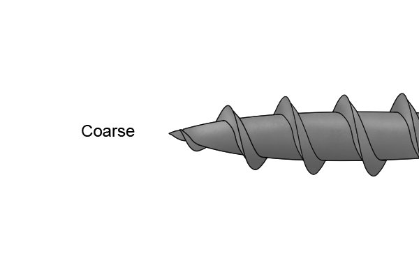 A screw with coarse thread that is suited to use in softwood