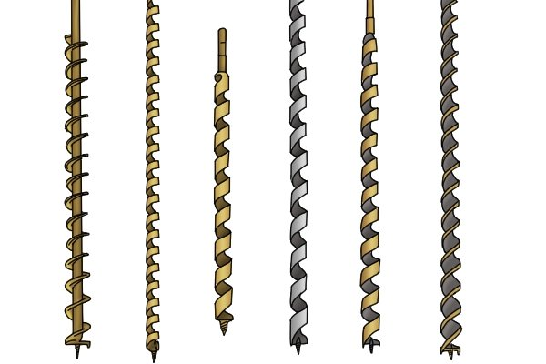 A selection of auger bits, all made according to different manufacturing patterns