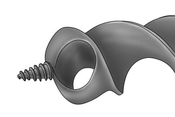 Example of a bull nose auger showing a close up of the shape of the tip