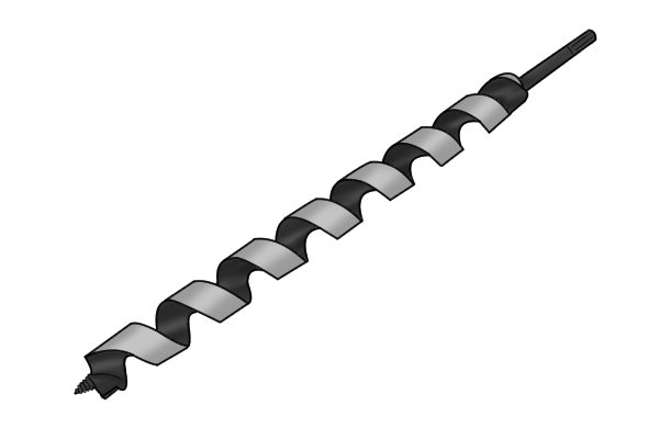An auger bit made from high speed steel, which is more resistant to damage from heat than tool steel