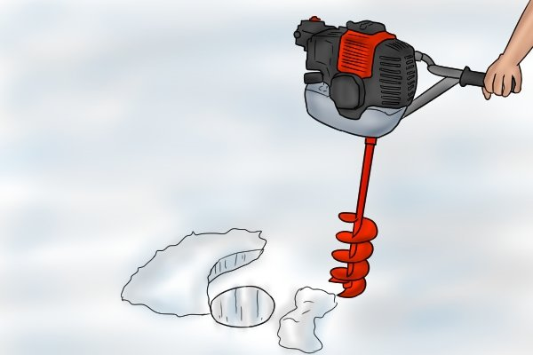 A hole that has been drilled in thick ice with an ice auger attached to a powered driver