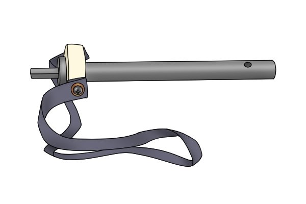 Image of an adaptor used to enable an ice auger to be powered by a cordless drill driver