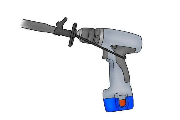 Image showing how an ice auger adaptor is attached to a cordless drill driver