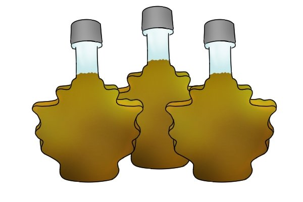 Jars of maple syrup boiled from sap that was collected from holes drilled in maple trees by an auger bit