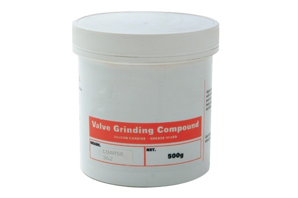 A tub of valve grinding paste which is used to sharpen the thread of the guide screw on an expansive bit