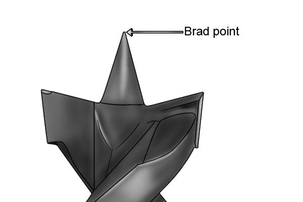 Labelled image of a brad point, which is usually found at the end of a wood bit.