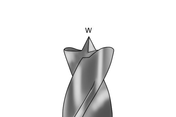 Image illustrating why brad point bits are known as W-point bits