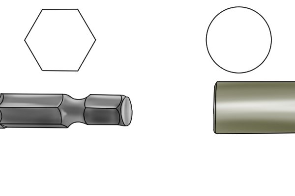 An illustration of two of the types of shank commonly found on brad point bits, hexagonal and round