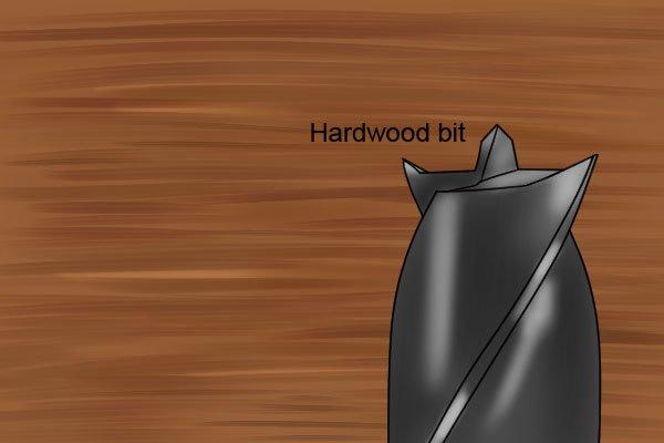 A hardwood brad point bit, made with sharper spurs to shear through tough wood fibre