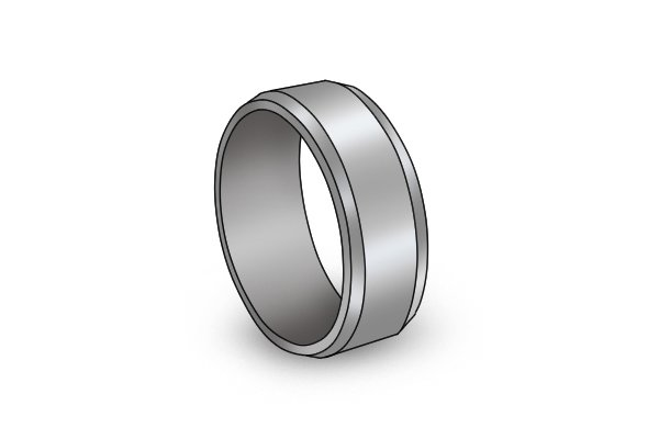 A ring made out of tungsten carbide, a durable material that is often used in the construction of brad point bits
