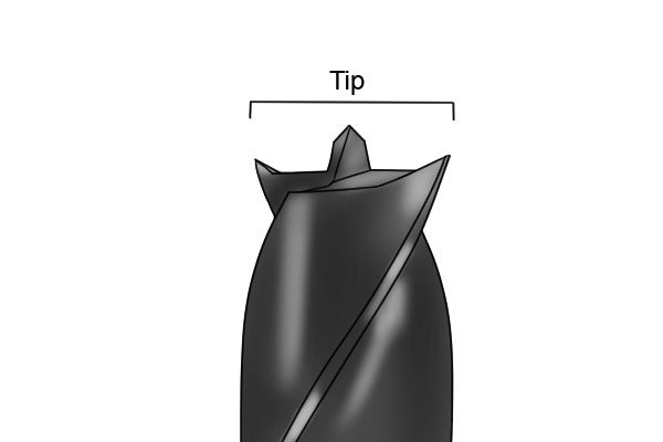 Diagram showing the brad point, spurs and lips of a brad point bit, which are the constituent parts of its tip