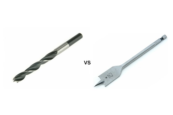 Image comparing a brad point bit and a spade bit