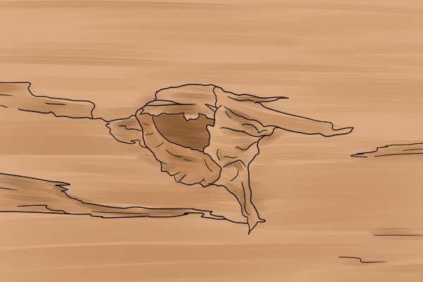 An illustration of tear out caused by a hardwood brad point bit in soft wood