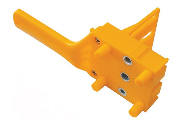 Example of a dowelling jig, which can guarantee that you will drill perpendicular holes in a piece of wood with a brad point drill