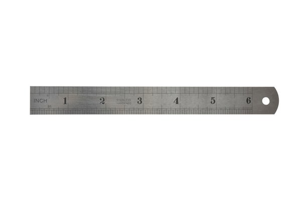 A steel rule, which can be used to measure the shank of a screw to help choose which size of brad point bit to use when pre-drilling a screw hole