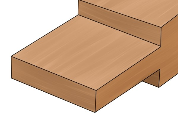 A piece of wood with a thinned down end that can be inserted into a recess in another piece of wood. This is referred to as a tenon