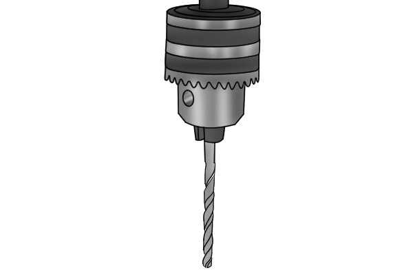 A twist bit secured in a drill press chuck so that it can be ground into a brad point bit by use of a rotary cutting tool
