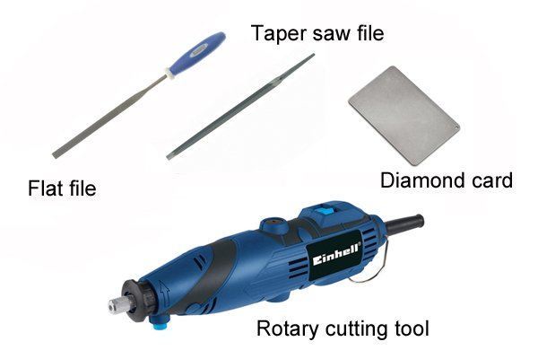 Alternatives to bench grinders and drill sharpening tools: swiss flat files, taper saw files, diamond cards and rotary tools