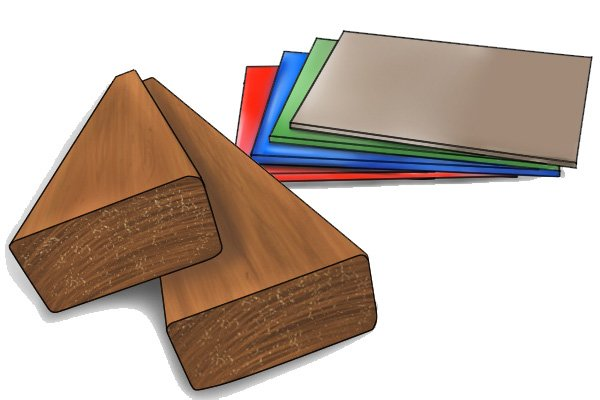 Image of the materials through which an expansive bit can cut: wood and plastic