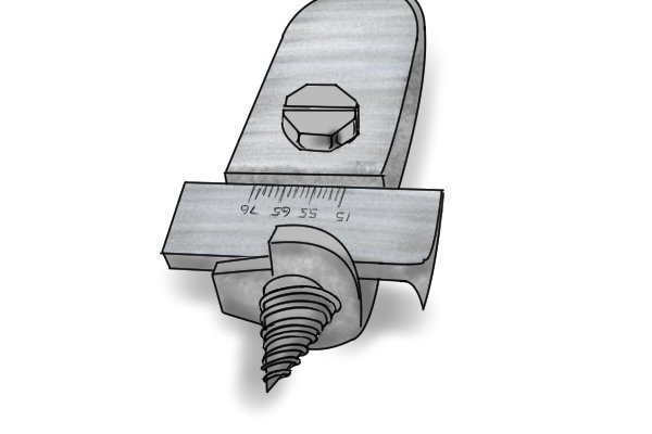 Close up of the head of a clark patent expansive bit showing the clasp adjuster mechanism