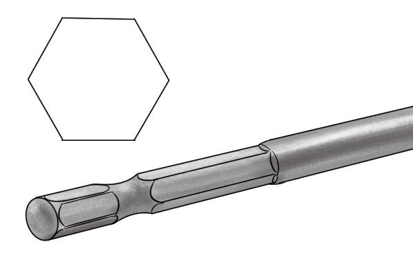 An expansive bit with a hexagonal shank