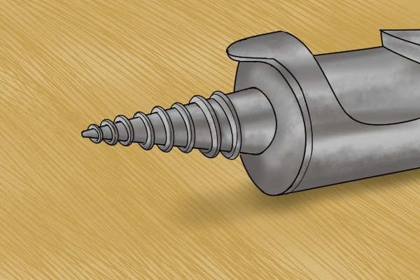 A guide screw on an expansive bit