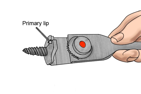 Labelled image showing the location of the primary lip on an expansive bit