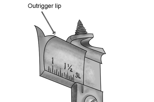 Image showing the location of an outrigger lip on an expansive bit