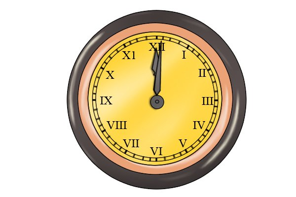 Image of a clock to illustrate that using a spoon bit in a hand brace to drill through a wooden workpiece will take much longer to accomplish than it would if you were using a Forstner bit or auger bit.