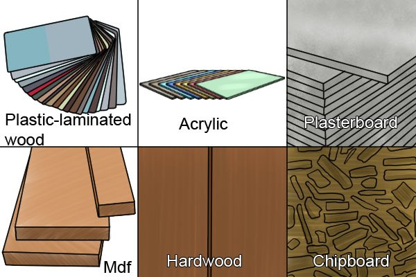 Visual list of the materials that spade bits are suited to boring through aside from softwood