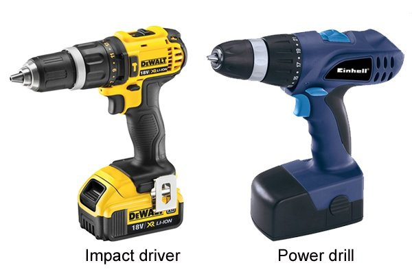 An impact driver and a power drill, which are both suitable drivers for spade bits