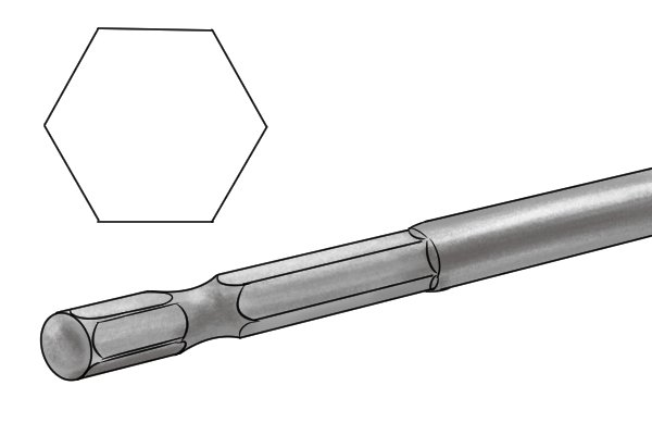 An expansive bit with a hexagonal shank
