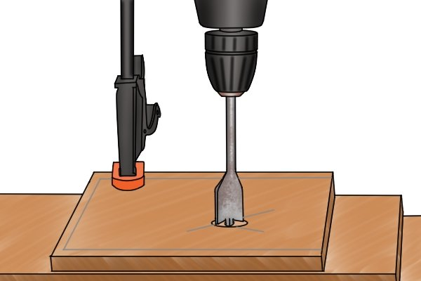 Warning to DIYers to make sure wood is clamped to drill press table