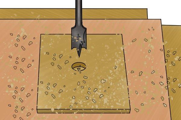 Drilling part way through a wooden workpiece with a spade bit
