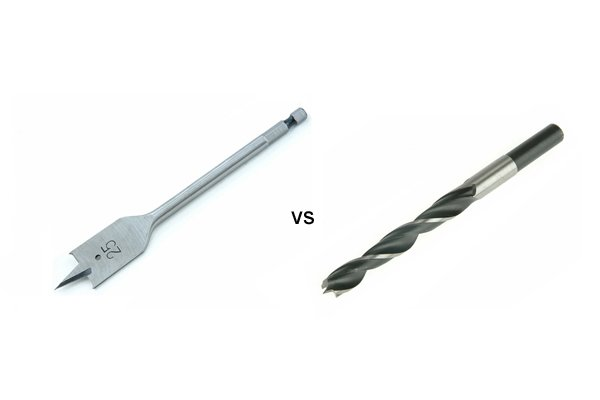 Image comparing a spade bit to a brad point bit