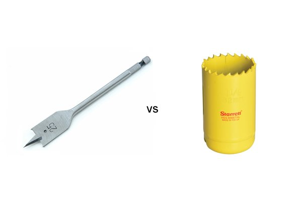 Image comparing a spade bit to a hole saw
