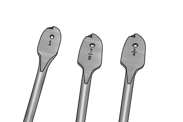Spade bits that have been ground to a tapered shape so that they can be used to drill tapered holes