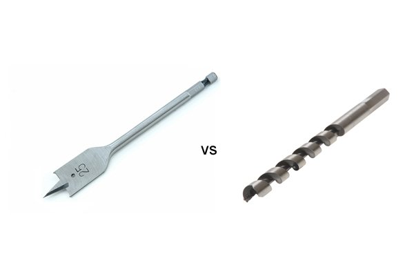 Image comparing a spade bit to an auger bit