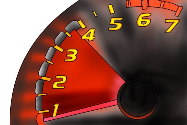Image of a speedometer, reminding DIYers to set the speed on their drill driver correctly before starting to drill