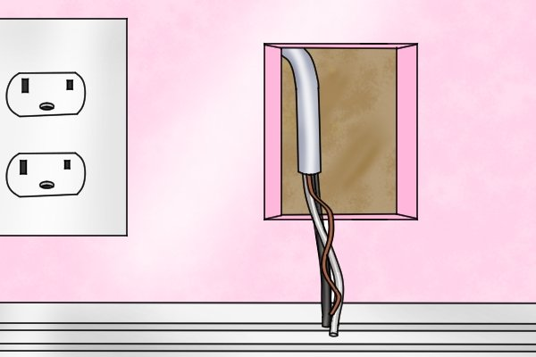 A cable that has been pulled fully through a wall stud with the help of a spade bit