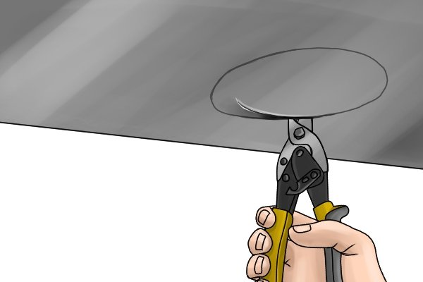 Right angle aviation snip or upright aviation snips can cut overhead and in awkward places