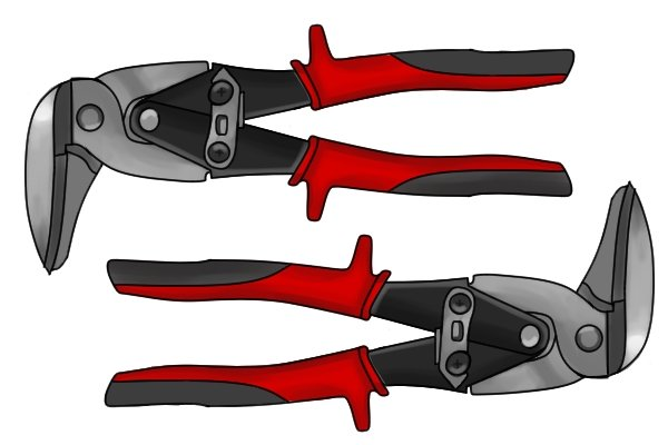 Right angled aviation tin snips come in right and left versions