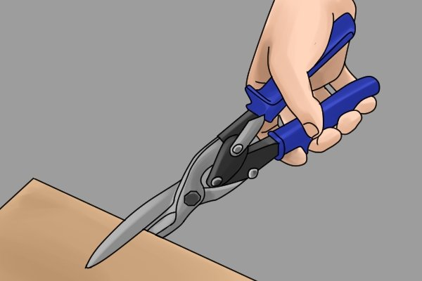 Straight cut aviation snips can be used for notching, this is cutting small sections from the edge of a material