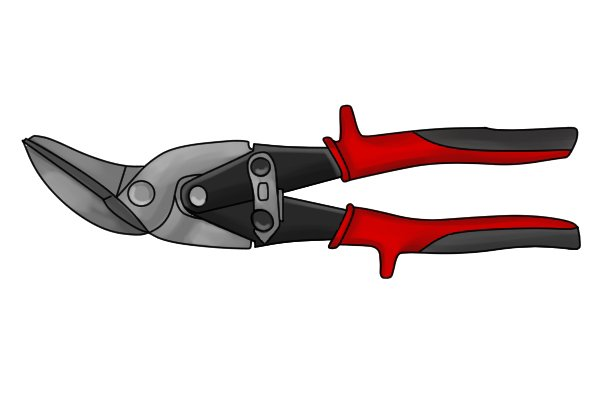 Left hand cut aviation snips are usually red