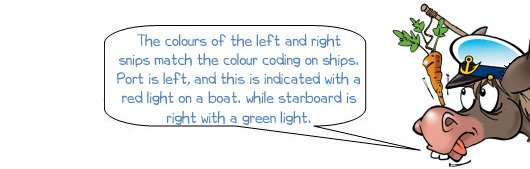 Wonkee Donkee says 'The colours of the left and right snips match the colour coding on ships. Port if left with a red light and starboard is right with a green light""