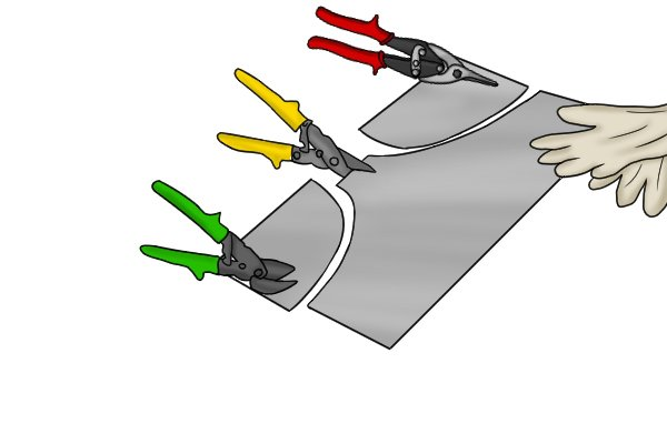 Left hand snips cut anti-clockwise while right hand snips cut clockwise