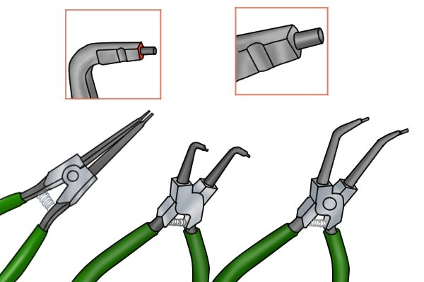 The tips of circlip pliers can be straight or angled