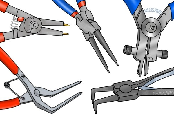 Different tips on circlip pliers are used for different retaining rings