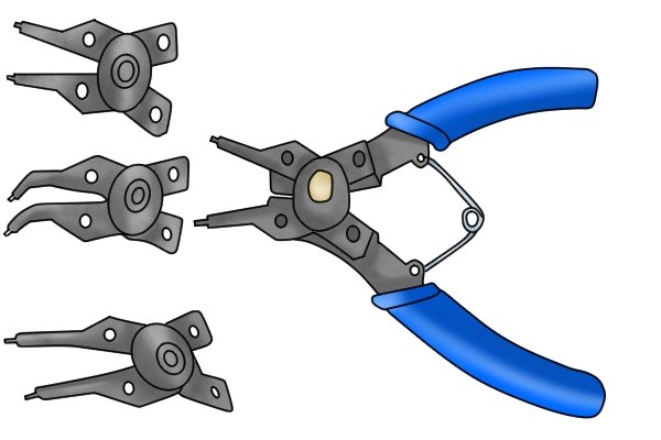 Circlip pliers sometimes have interchangeable heads