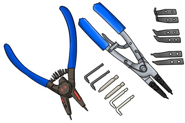 Many circlip plier have interchageable parts